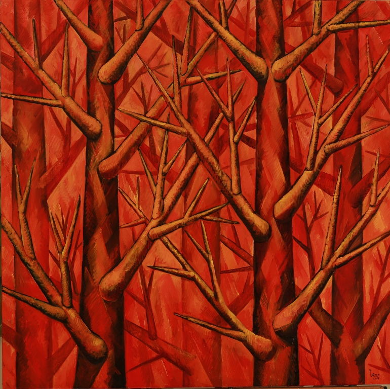 """Harmony in Red Original Oil On Canvas by Yuroz. 80"""" x 100"""" inches."""
