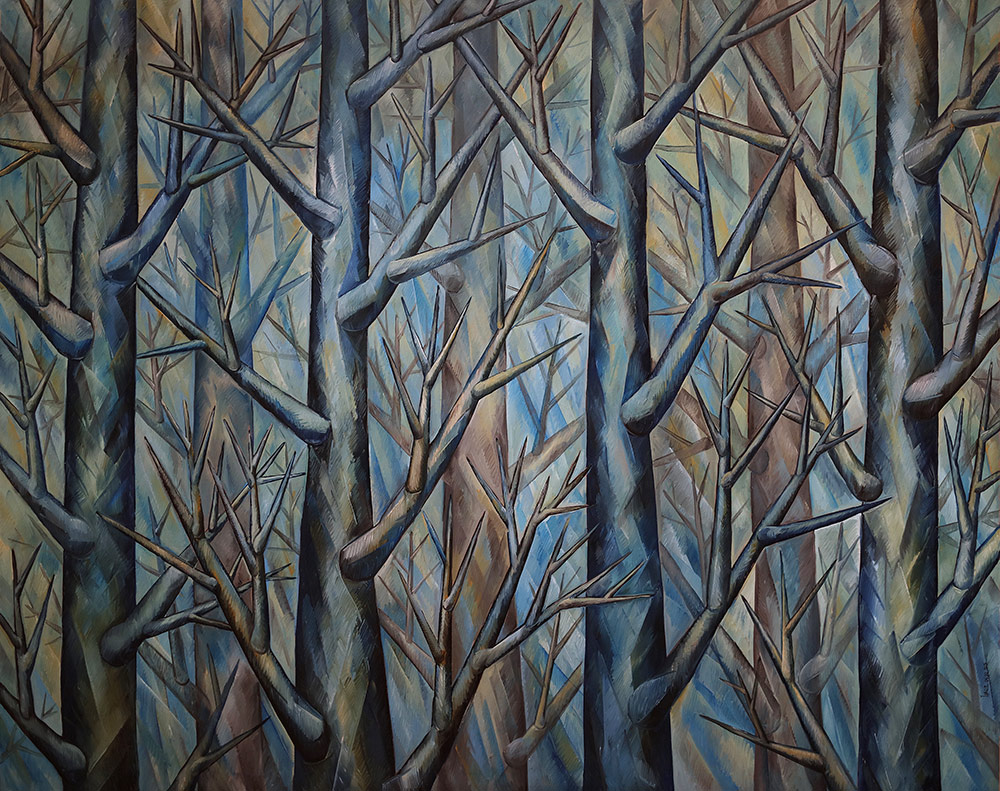 Harmony in Blue—Original Oil on Canvas. 80 x 100 inches (203.2 x 254 cm).