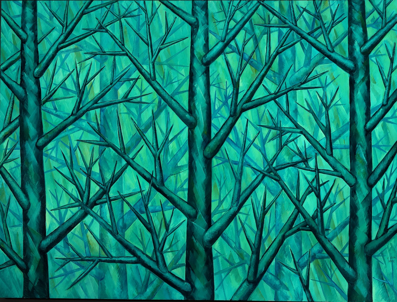 """Harmony in Green"", Symbiosis Collection, Original Oil on Canvas 80"" x 100"""