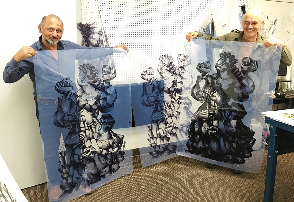Yuroz at Kolibri Studios during printing process for Dance with the Pomegranates