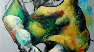 Lovers' Embrace by Yuroz impasto process